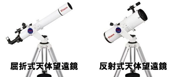 屈折式と反射式天体望遠鏡