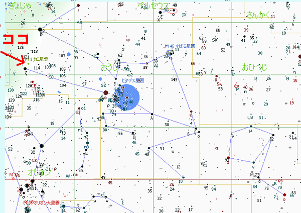 カニ星雲の位置が判る星図