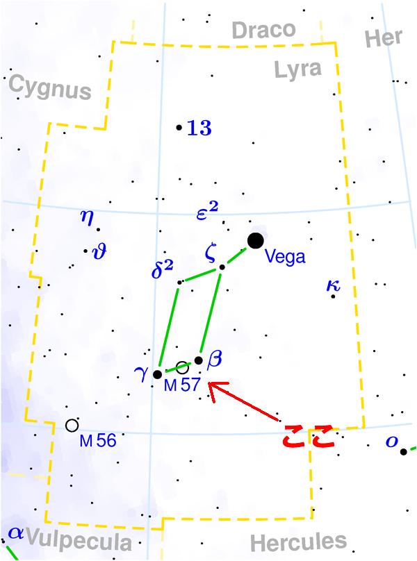 環状星雲M57の位置