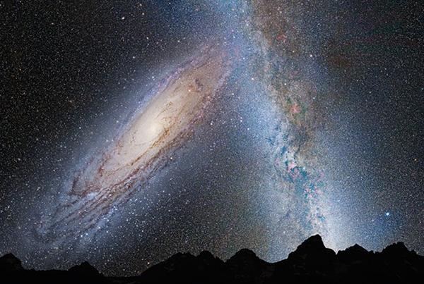 アンドロメダ銀河と天の川銀河が衝突合体