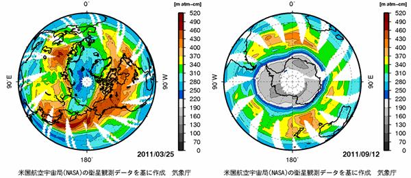 北極と南極のオゾンホール